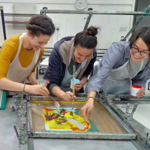 3 friends monoprinting on this fabulous one year course.